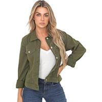 Jaqueta Jeans Leny Blomm Feminina - Feminino-Verde