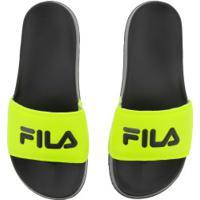 Chinelo Fila Drifter Basic - Slide - Masculino - Amarelo Fluor/Preto