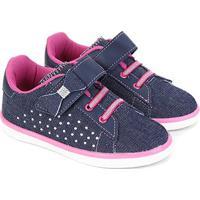 Tênis Infantil Kurz Strass Velcro Feminino - Feminino-Azul+Pink