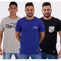 Kit De 3 Camisetas Starter Preta Azul E Cinza