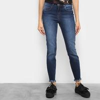 Calça Jeans Skinny Colcci Base Cory Barra Desfiada Cintura Alta Feminina - Feminino-Jeans