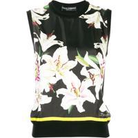 Dolce & Gabbana Blusa De Tricô Com Estampa Floral - Preto