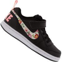 Tênis Nike Court Borough Low Vf Ps Feminino - Infantil - Preto/Rosa