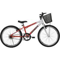 Bicicleta Aro 24 Mtb Sem Marcha Model Feminina Com Cestão Laranja Athor Bikes