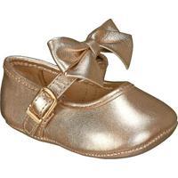 Sapato Boneca Em Couro Com Laã§O- Dourada- Babykimey
