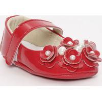 Sapato Boneca Envernizado Com Laã§O & Pã©Rolas - Vermelho Tico Baby