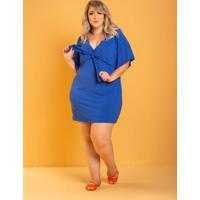 Vestido Iris Laço Azul Royal Plus Size