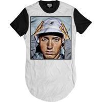 Camiseta Longline Eminem Art Masculina - Masculino-Branco
