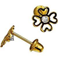 Brinco Em Ouro 18K Trevo Com Zircônia - Br15070 Casa Das Alianças Feminino - Feminino-Dourado