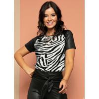 Blusa Com Mangas Raglan Zebra