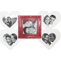 Painel Sweetheart Para 5 Fotos 10X15 Recortadas Branco Com Vermelho Kapos