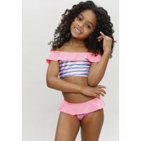 Biquíni Infantil Estampado Com Babado E Proteção Uv50+ Rosa Neon