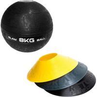 Kit 12 Half Cones Chapéu Chinês Pretorian Hc-Pp + Bola Medicine Slam Ball 8 Kg Liveup Ls3004-8 - Unissex