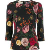 Dolce & Gabbana Blusa Com Estampa De Rosa - Preto