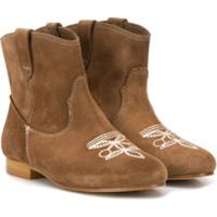 Bonpoint Ankle Boot Com Bordado - Neutro