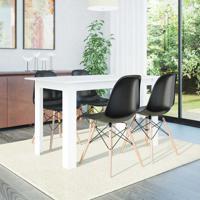 Conjunto De Mesa Cogma Com 4 Cadeiras Eames Base Madeira Branco E Preto