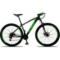 Bicicleta Xlt Aro 29 Quadro 21 Alumínio 21 Marchas Suspensão Freio Disco Preto Verde Ksw