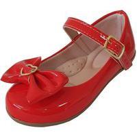 Sapatilha Infantil Milu Fashion Com Laço Detalhe Coração Vermelha