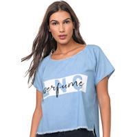 Blusa Jeans Lança Perfume Estampada Azul