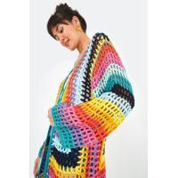 Casaco Tricot Quadrados Listra - Multicolorido - U