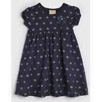 Vestido Milon Infantil Poá Azul-Marinho