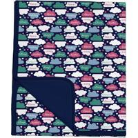 Manta Dupla Face Nuvens - Verde & Branca- 3X30X24Cm Batistela