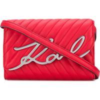 Karl Lagerfeld Signature Logo Crossbody Bag - Vermelho