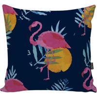 Capa Para Almofada Fauna- Azul Escuro & Rosa- 45X45Cstm Home