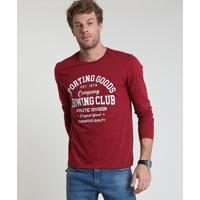 "Camiseta Masculina ""Sporting Goods"" Manga Curta Gola Careca Vinho"