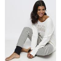 Pijama Com Coelhinhos - Off White & Pretocor Com Amor