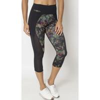 Legging Corsário Com Recortes- Preta & Amarela- Physphysical Fitness