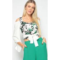 Blusa Cropped Folhagem Com Bordado- Verde & Off White