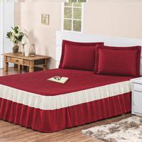 Colcha / Cobre Leito Agatha Com 2 Porta Travesseiros Casal Casa Dona Vermelha - Incolor - Dafiti