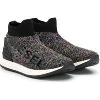 Diesel Kids Glitter Detail Sneakers - Preto