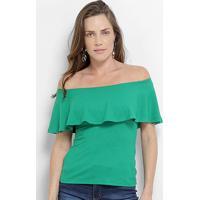 Blusa Colcci Ombro A Ombro Canelada Feminina - Feminino-Verde