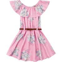 Vestido Bebê Flores E Cinto Rosa Claro - Fakini