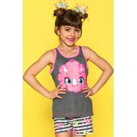 Pijama Curto Puket Blusa Regata E Short Doll Dina Cinza Cinza