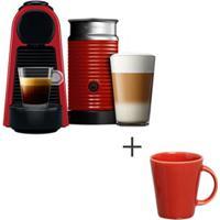 Cafeteira Nespresso Essenza Vermelho - A3Nrd30B - 220V + Conjunto De Canecas Basic Com 04 Pecas Vermelho - Porto Brasil