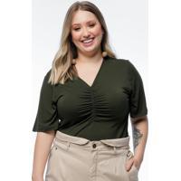 Blusa Plus Size Verde Militar Franzido