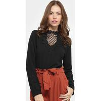 Body Chic Up Renda Manga Longa - Feminino-Preto