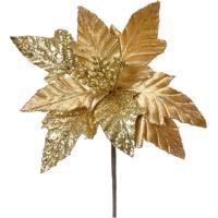Flor Decorativa Poinsettia- Dourada- 30X25X25Cm-Cromus