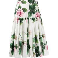 Dolce & Gabbana Floral Pleated Skirt - Branco