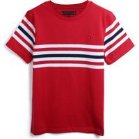 Camiseta Tommy Hilfiger Kids Menino Listras Vermelha/Branco