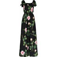 Dolce & Gabbana Vestido Longo Com Estampa Floral - Preto