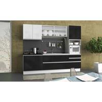 Cozinha Modulada Completa 5 Módulos 100% Mdf Branco/Ébano - Glamy