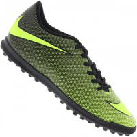 Chuteira Society Nike Bravata X Ii Tf - Adulto - Preto/Verde Cla