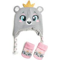 Kit Touca Princesa Urso + Meia Baby 15 A 18