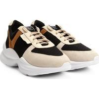 0cc344ef8 ... Tênis Chunky Dumond Sneaker Recortes Feminino - Feminino-Bege+Preto