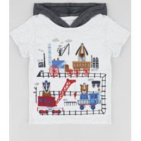 Camiseta Infantil Com Estampa Interativa De Bichos Com Capuz Manga Curta Cinza Mescla Claro
