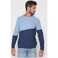 Suéter Tricot Forum Bicolor Azul
